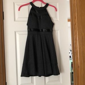 Black mini dress with black leather
